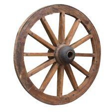 Antica ruota di carro originale in legno con rinforzi in ferro restaurata arredo