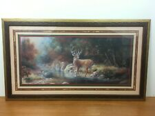 30x17 Deer Woods Forest River Country Creek Scene Picture Framed Home Interiors