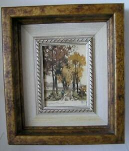 Vintage French Lithograph of Branges Canal Professionally Framed and Signed