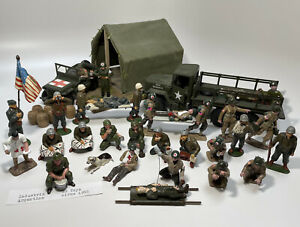 Timpo, Imrie Risley+ lot 30 Figures 2 Vehicles U.S. Army Medical Unit Collection