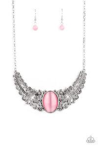 ~Celestial Eden~ Pink Cats Eye Necklace & Earrings Paparazzi Jewelry