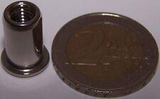 50 Edelstahl A4 Blindnietmuttern M6 mit Flachkopf 0,5-3,0mm V4A seewasserfest