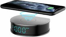 Digital Alarm Clock with 15W Fast Wireless Charger for iOS/Android Smartphone,