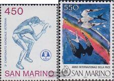 San Marino 1343,1344 (kompl.Ausg.) postfrisch 1986 Tischtennis WM, Frieden