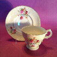 Cauldon Pedestal Teacup And Saucer - Gold Scalloped Rims - Bouquets - England