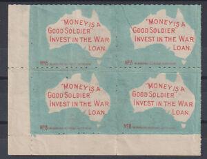"AUSTRALIA c.1915: block of 4x ""Money is a Good Solder..."" poster stamps · no gum"