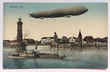 Vintage Zeppelin Postcard Airship Lindau ship boat lighthouse Bodensee Constance