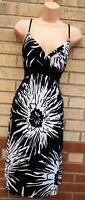 KALEIDOSCOPE BLACK WHITE FLORAL LYCRA STRAPPY A LINE SUMMER TEA DRESS 16 XL