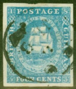 British Guiana 1854 4c Blue SG19 V.F.U with 4 Ample Well Balanced Margins Ex