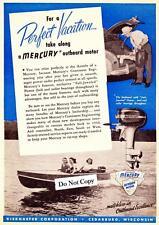 "Vintage 1947 Mercury Outboard Motors ad ""Perfect Vacation""."