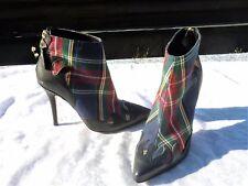 """Olympic Stilettos High Heels Stiefeletten """"Schotten-Muster""""  Größe 37 Leder  NEU"""