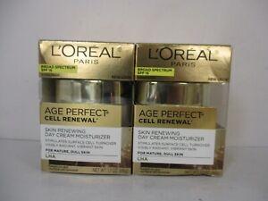 2 L'OREAL AGE PERFECT SPF 15 CELL RENEWAL DAY CREAM 1.7 oz EA EXP 9/21+ JL 12643