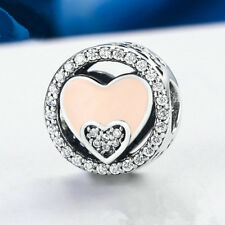 Pink Love Heart Silver CZ European Charm Beads Fit 925 Pendant Necklace Bracelet