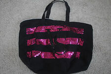 victorias secret pink & black sequin bag