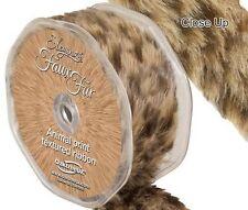 Leopard Print  Brown Faux Fur Trim - 38mm x 1.5m - Eleganza Polyester