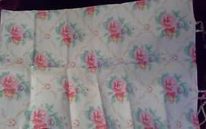 vintage fabric pillowcase cotton shabby pink roses quilting craft