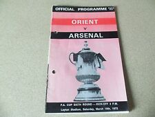 Leyton Orient vs. Arsenal FA Cup 6th Round programme 18 March 1972