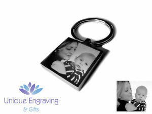 Personalised Photo Engraved Square Keyring Keychain - Great Teachers Gift Idea!