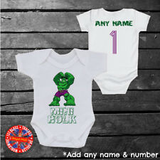 Marvel The Hulk Inspired baby grow vest, kids t-shirt, any name & number