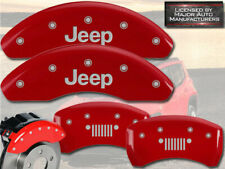 "2015-2017 Jeep Renegade Front + Rear Red MGP Brake Disc Caliper Covers ""Grill"""