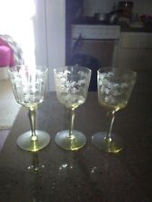 """Vintage Etched Yellow Depression 5 1/2"""" tall Wine/Sherry Glasses, Set of 3"""