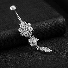 2Pcs Reverse Triple Flower CZ Gem Dangle Belly Ring Navel Gold Silver Jewelry