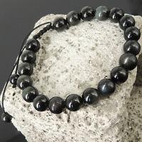 Zen Yoga Braided Bracelet Black Obsidian Meditation Positive Calm Healing Energy