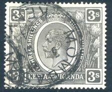 Kenya & Uganda - 1922-27 3/- Jet-Negro SG 90a V15545 Usado En Buen Estado