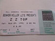 Zz Top in concert Michigan State University 1991 Ticket Stub