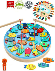 Wooden FISHING GAME Magnetic Catch and Count Fun Play Alphabet Fishing Toy
