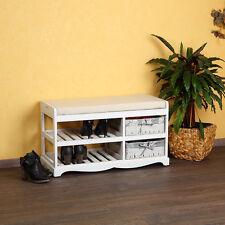 Schuhablage + Sitzbank mit Körben Kissen Holz Weide Schuhregal Weiß Schuhständer