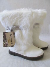 BEARPAW WHITE WINTER COW HAIR COMFORT BOOTS SIZE 9 - NEW