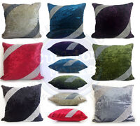 "LARGE CRUSH VELVET DIAMANTE CROSS LACE CUSHIONS COVERS 17X17""or21""X21"" 7 COLORS"