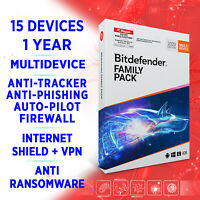 Bitdefender Family Pack MULTIDEVICE 2021 15 devices 1 year FULL EDITION Key +VPN