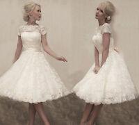 Cap Sleeve Lace Short White/Ivory Wedding Dress Bridal Gown Size 6 8 10 12 14 16