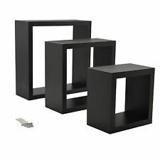 Square Floating Wooden Wall Storage Display Shelves 3 Sizes Black Set of 3