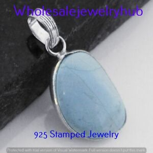 Turquoise Gemstone 925 Sterling Silver Plated Handmade Pendant P-5983