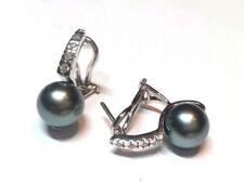 Orecchini perle nere THAITI PEARL EARRINGS diam. 9 diamanti ct 0,07 oro 18kt