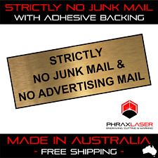STRICTLY NO JUNK MAIL - GOLD SIGN - LABEL - PLAQUE w/ Adhesive 80mm x 30mm