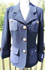 ST. JOHN Womens Knit Blue Jacket Sz 8 w/ Gold Buttons Boucle