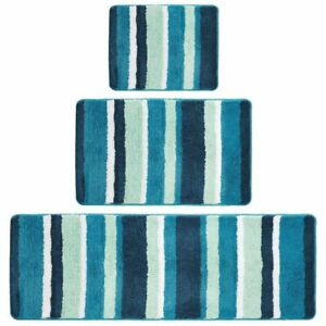 mDesign Striped Microfiber Bathroom Spa Mat Rugs/Runner, Set of 3 - Teal Blue