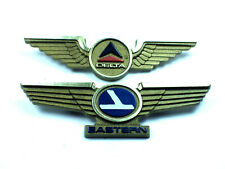 Delta Airlines + EASTERN Authentic Wings Stoffel Gold Tone Plastic Pin Badges