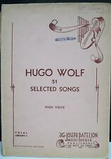 1941 51 Selected Songs by Hugo Wolf Vocal Score G-Vg