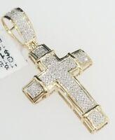 Real 10K Yellow Gold Genuine Diamonds Cross Jesus Vintage Pendant Charm 0.28 Ct.