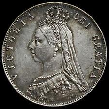 1889 Queen Victoria Jubilee Head Silver Half Crown, Scarce, EF