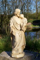 antike Figur hl. Franziskus m. Jesus Gips oder Keramikfigur 42 cm Sammlerstück