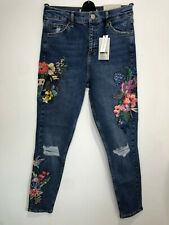 BNWT Topshop Jamie floral embroidered skinny jeans 12 W 30 L 32 NEW flowers bird