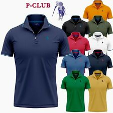 POLO MANICA CORTA UOMO P-CLUB 100% COTONE PIQUET REGULAR FIT S M L XL XXL 3XL