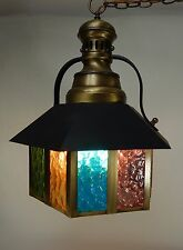 Vintage Ceiling Chain Lamp Metal Multi Color Glass