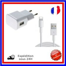 CHARGEUR IPHONE 5 5S 5C 6 6S PLUS 7 USB LOT KIT 2 EN 1 CABLE + SECTEUR 2A/LOT